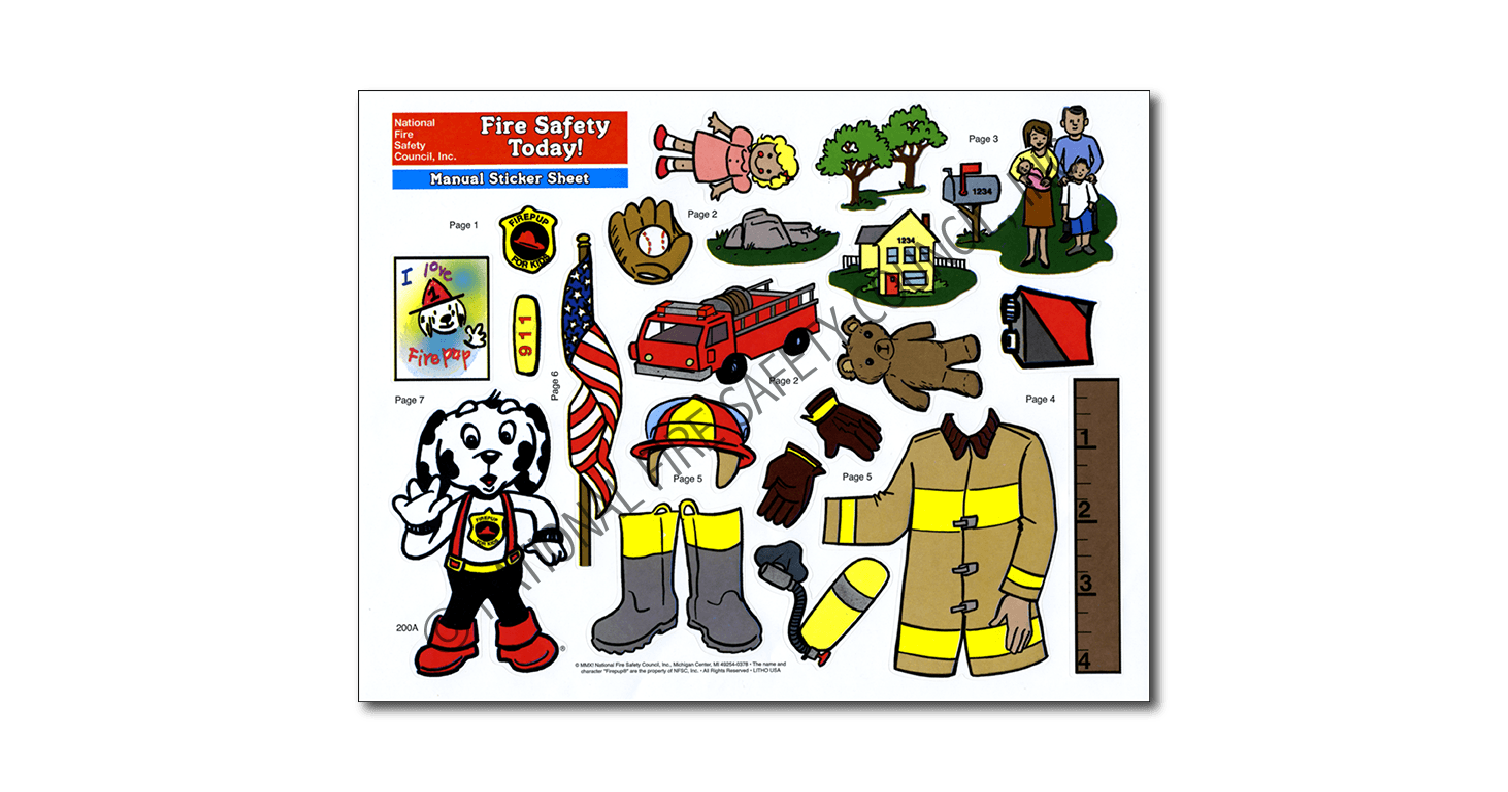 200FA: Fire Safety Today! Sticker Sheet