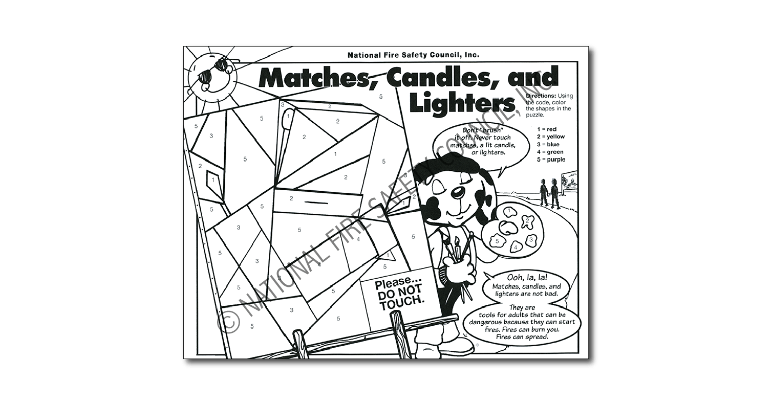 343F: Matches, Candles, and Lighters Color / Activity Sheet